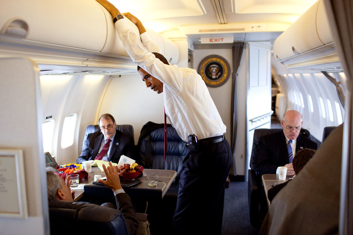 "President Barack Obama aboard a C-32A, which gave it the radio call sign ""Air Force One""."