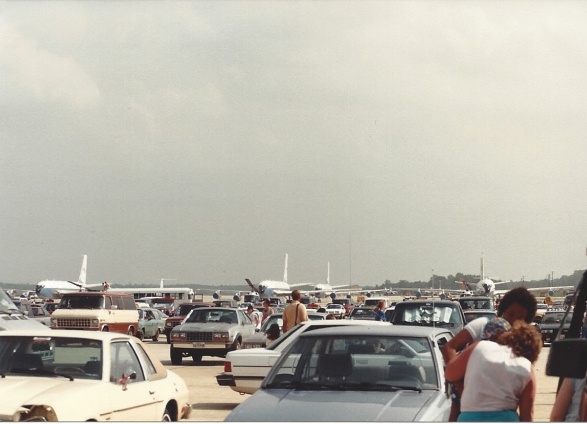 Presidential jetliners in the background on the tarmac at Andrews AFB, circa 1989.