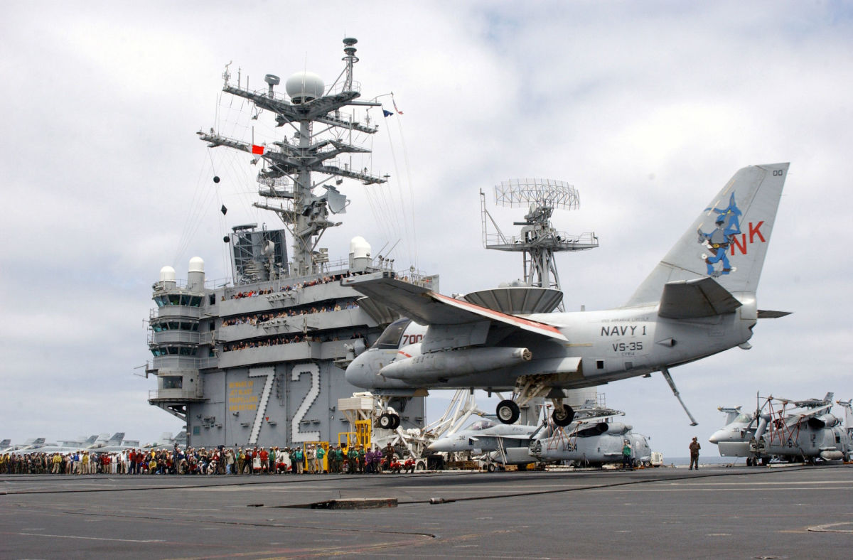 "A S-3 Viking flown by President George W. Bush, with the radio call sign ""Navy One"", landing on the USS Abraham Lincoln.  The US Navy retired this aircraft on 15 July 2003.  It is on display at the Museum of Naval Aviation at NAS Pensacola, Florida."