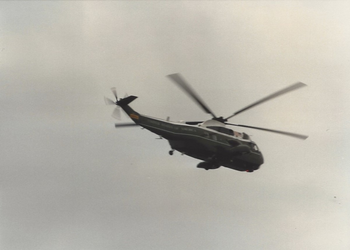 A Presidential helicopter in flight.