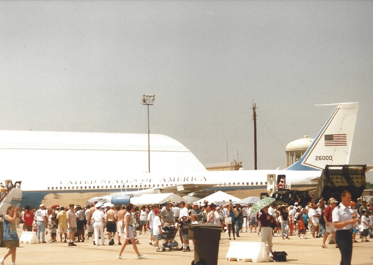 The presidential VC-137, tail number 26000, on display at Joint Base Andrews, MD, May 1998.  The public was allowed to look inside before the aircraft before it went to be put in the Air Force Museum at Wright-Patterson AFB, Ohio..