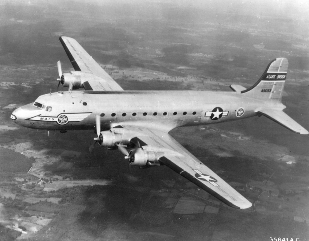 "A C-54.  The C-54 ""Sacred Cow"" transported President Franklin D. Roosevelt to the Yalta Conference.  President Harry S. Truman created the United States Air Force aboard the ""Sacred Cow"" by signing the National Security Act  of 1947."