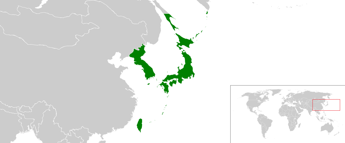 The principal territories of the Japanese empire. In 1931 it added Manchuria, and a frenzy of expansion occurred during the Second World War.