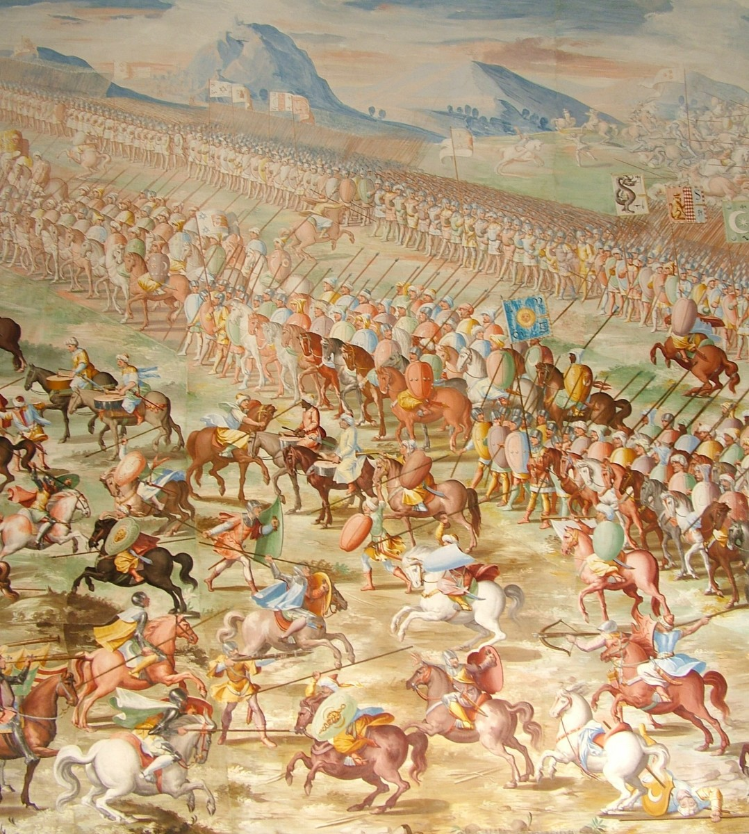 Battle of La Higueruela, 1431. Note the differences in tail carriage of the various horses in the painting. The Arabian's high-carried tail is a distinctive trait.
