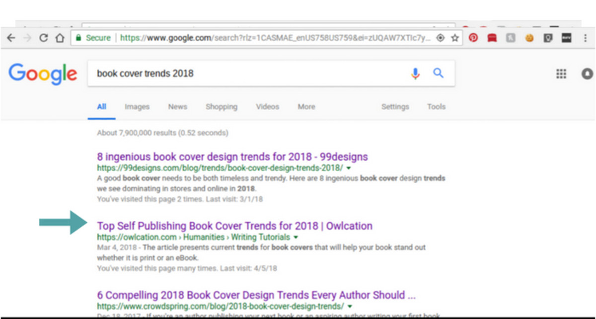 How Google displays title tags