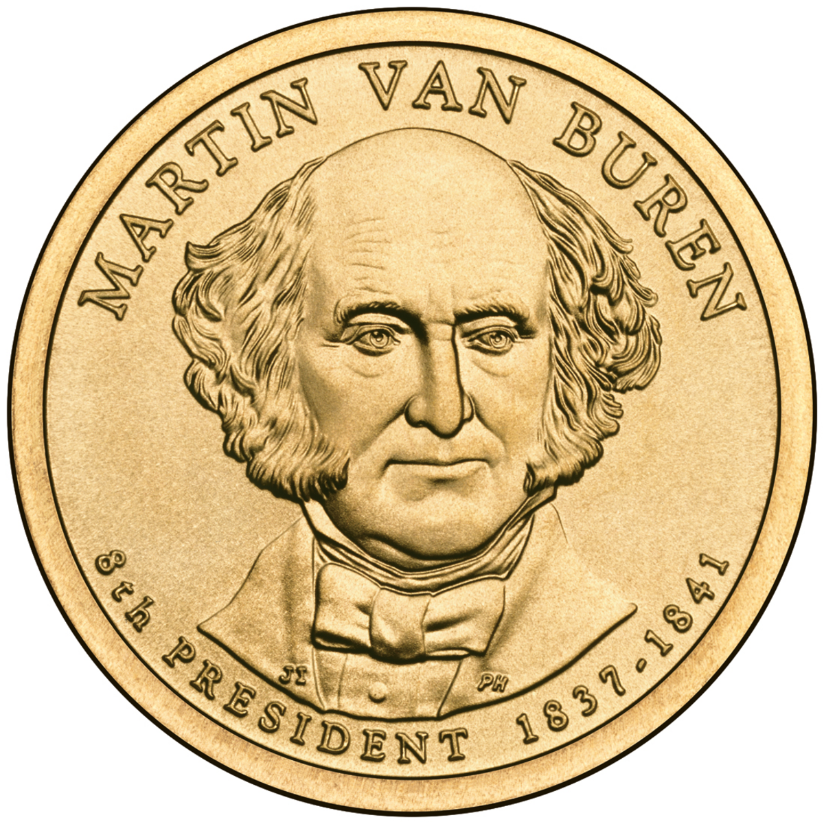 Martin Van Buren Presidential dollar issued in 2008.