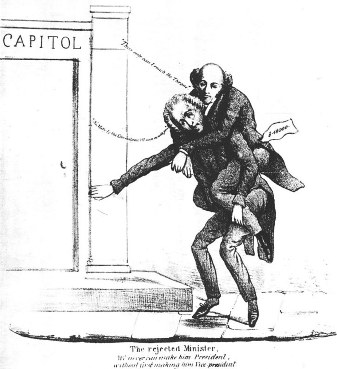 1832 Whig cartoon shows Jackson carrying Van Buren into office