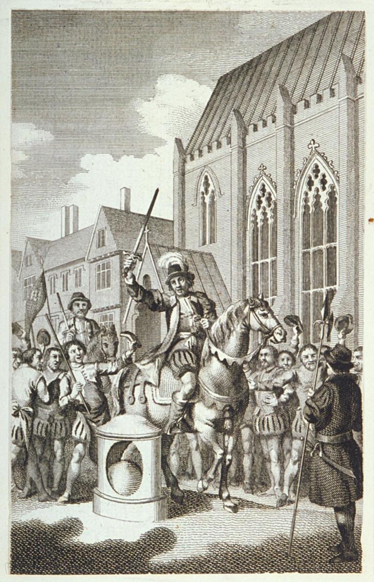 Shakespeare, Henry VI, act 4 scene 6-Jack Cade striking the stone and declaring himself mayor