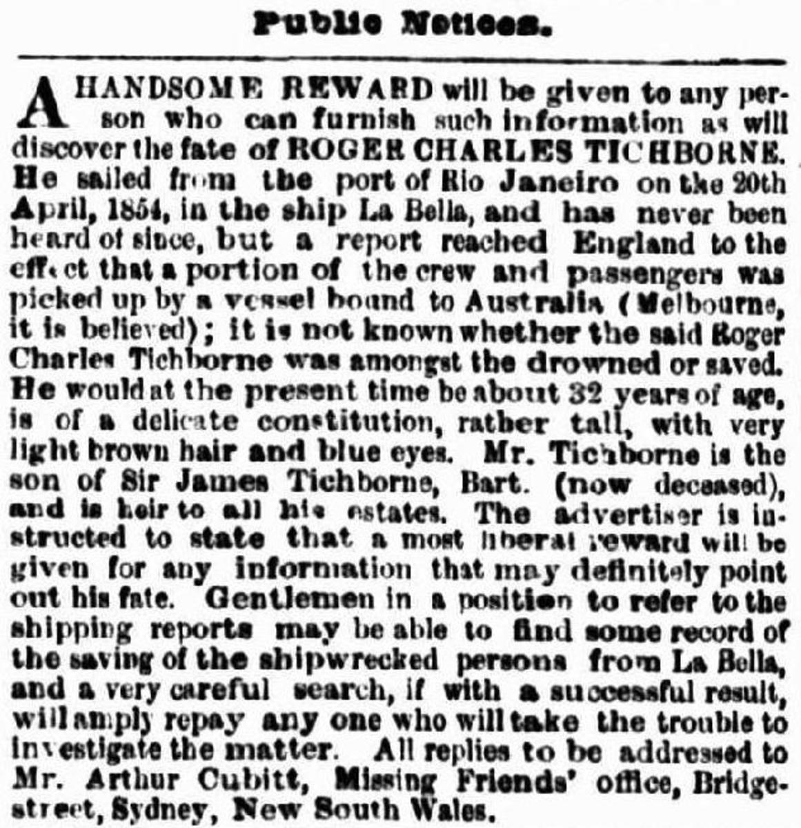 Lady Tichborne's appeal for news of her son.