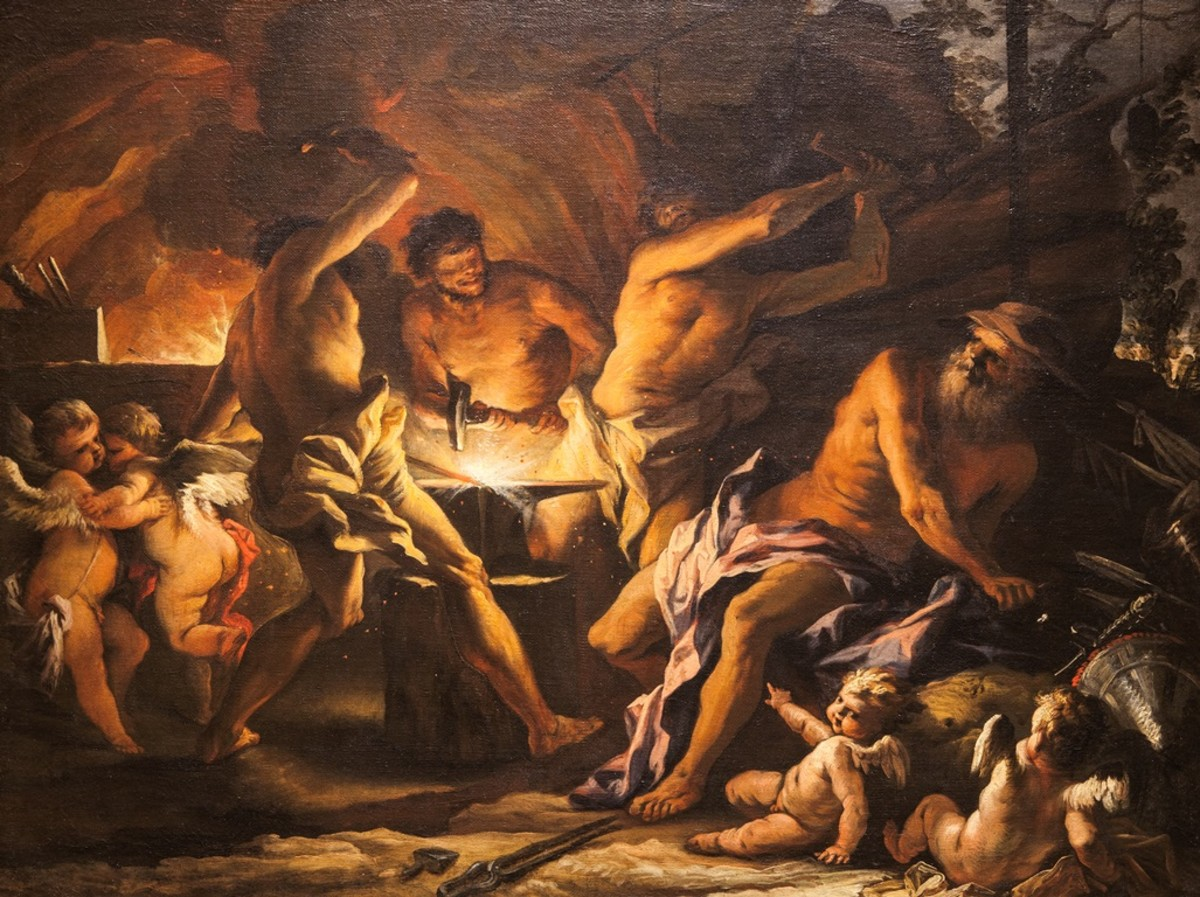The Roman God of Fire, Vulcan, makes for a near-perfect symbol for a volcano. In this painting by Alessandro Gherardini Vulcan with the aid of Cyclopidae is making a shield  for the son of Venus.