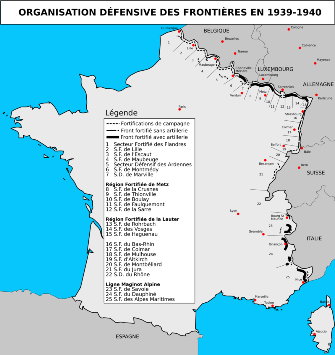 A map of the defensive positions of the French defensive system, strongest along the German and Italian borders.