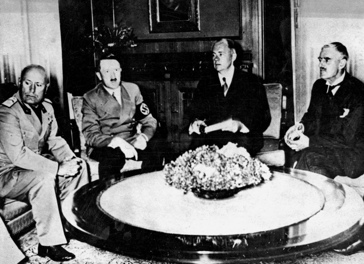 Participants at the Munich Conference of France, Britain, Germany, and Italy: Czechoslovakia was effectively thrown to the wolves.