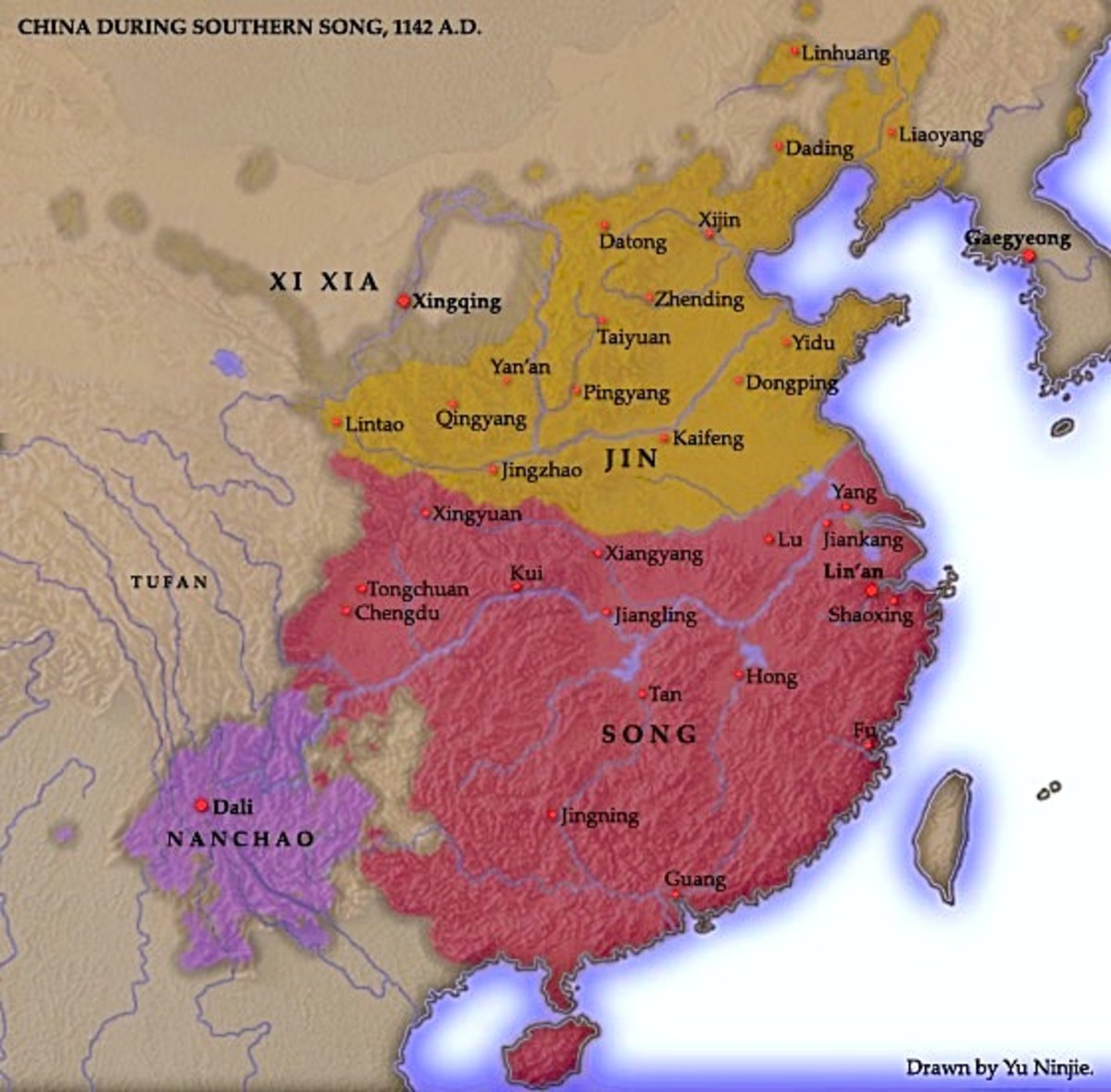 The new distribution of Chinese territory after the fall of the Northern Song to Jurchen invasion.
