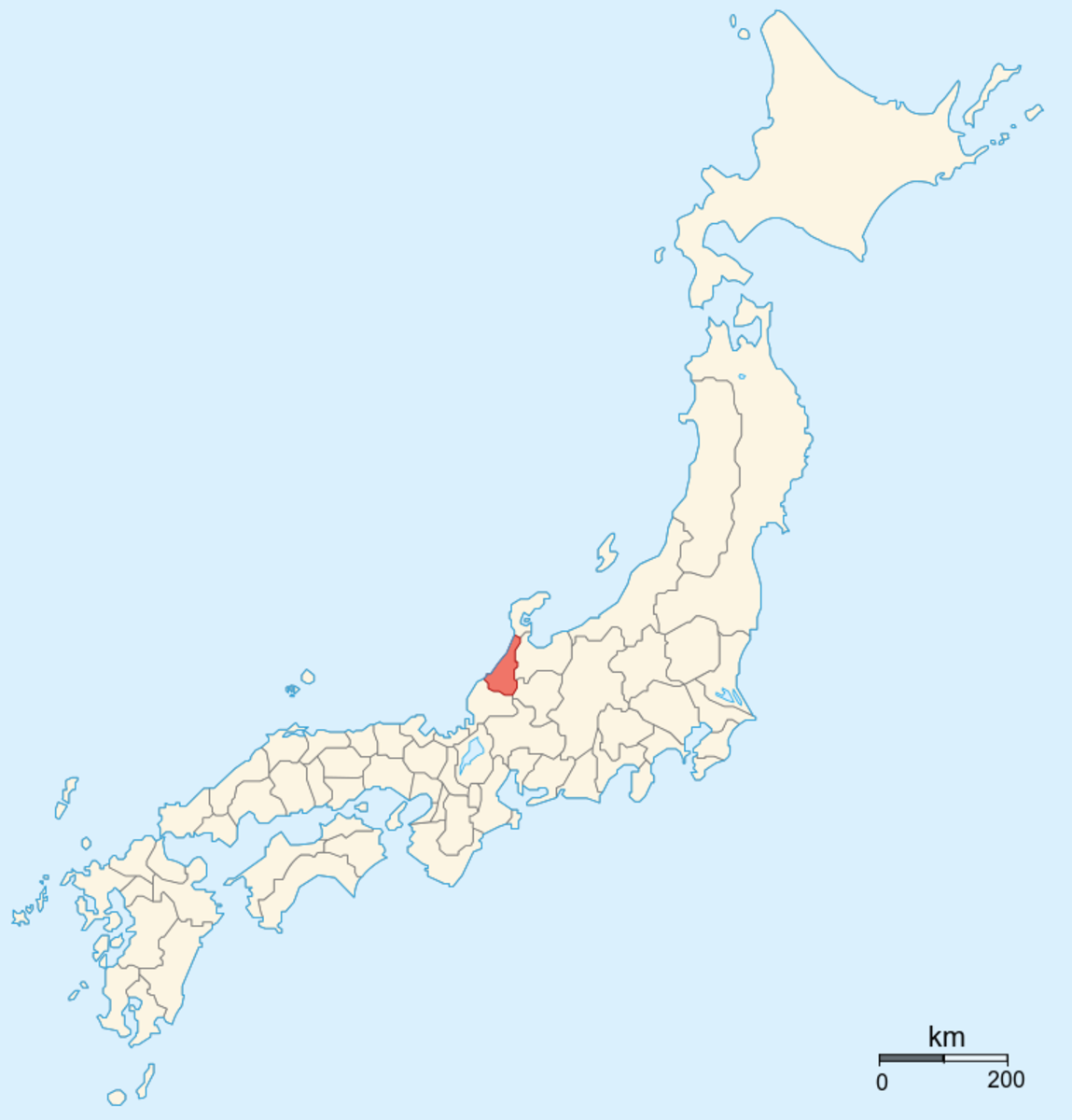 Kaga Province, the descendent of the Kaga Domain, location in Japan.