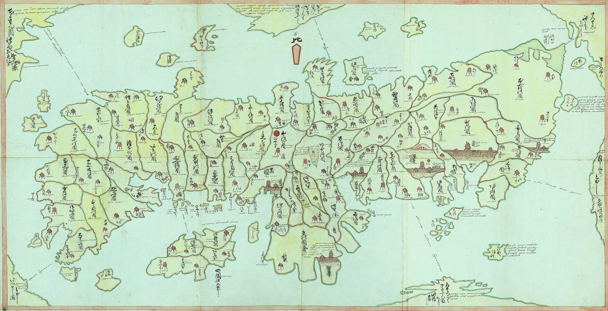 A Japanese/Cyrillic script map of Japan