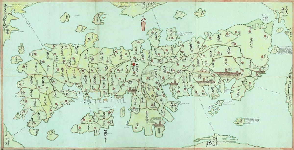 A Japanese/Cyrillic script map of Japan