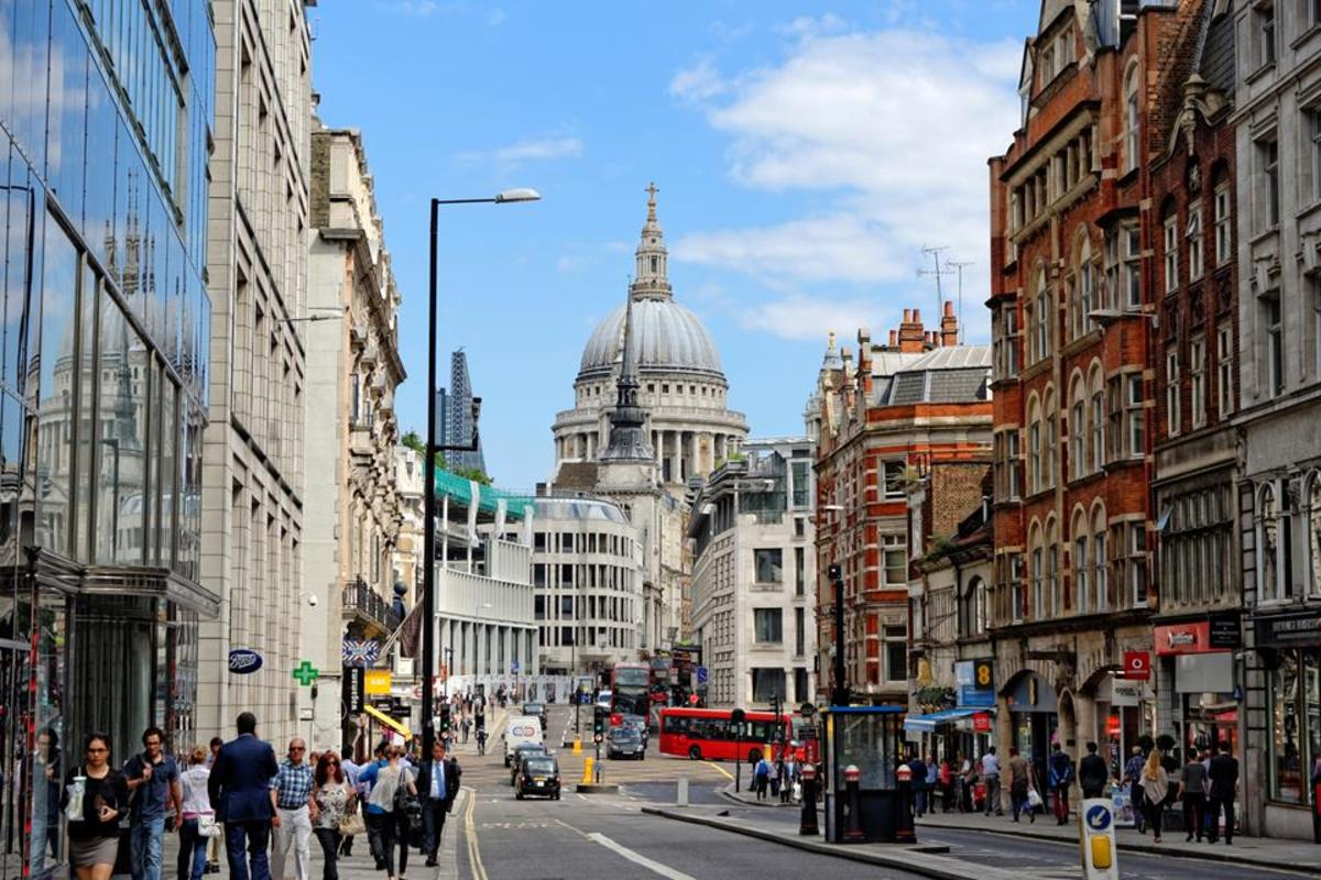 Fleet Street looking towards the City, the cheese-grater and St Paul's clearly in the foreground