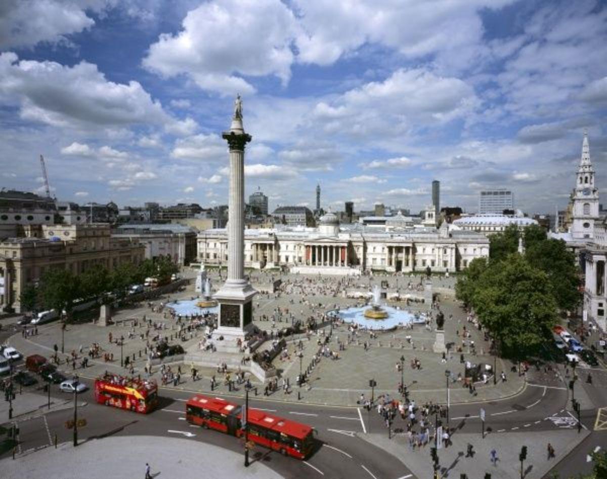 Pigeon's eye view of Trafalgar Square