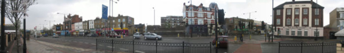 Panorama of the Old Kent Road from outside Tesco.