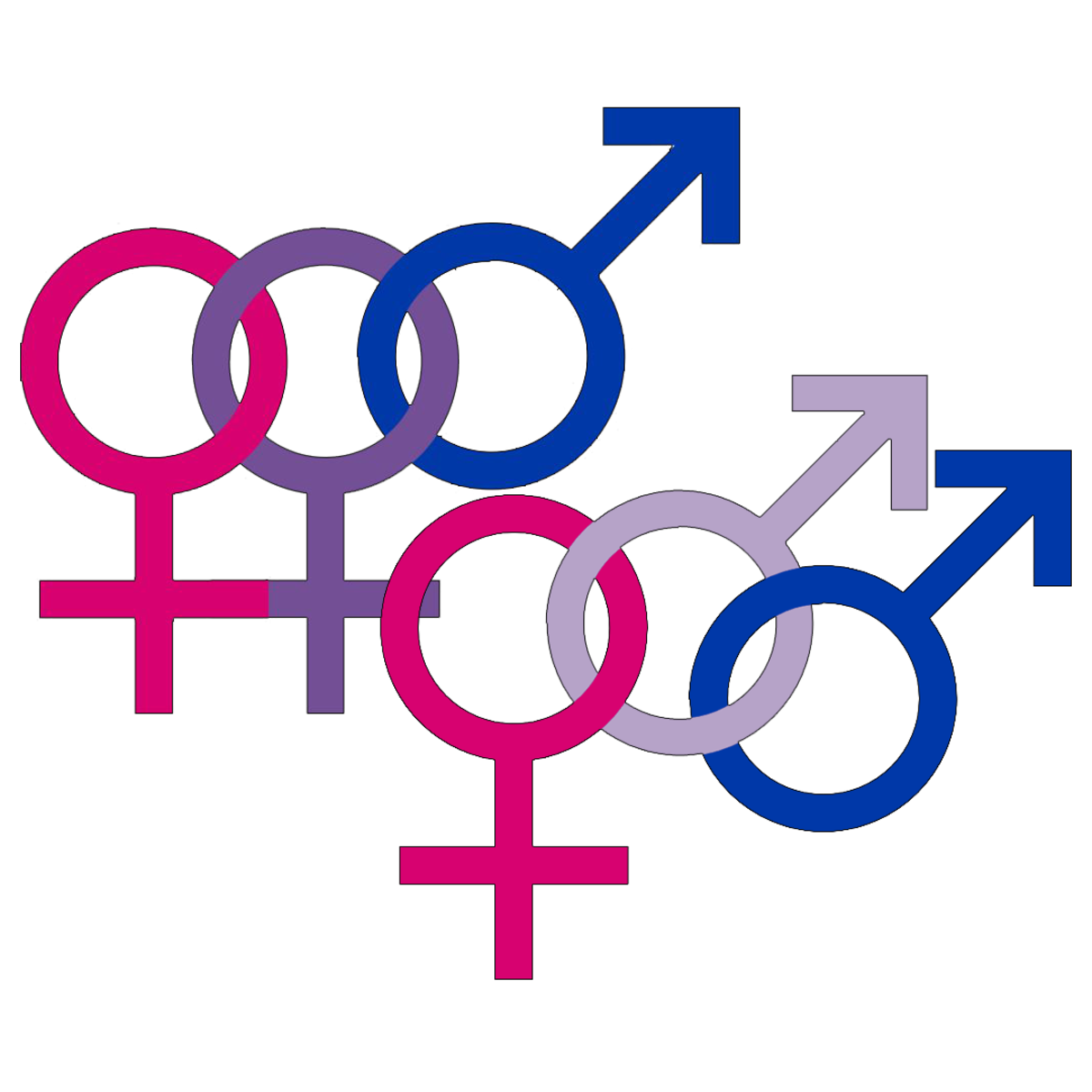 The male and female symbols can be combined to create a symbol of bi pride.