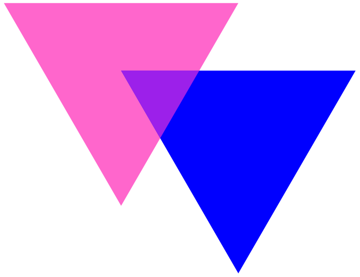 The BiAngles Symbol, which consists of two intersecting triangles in pink and blue, creating a lavender triangle where they overlap.