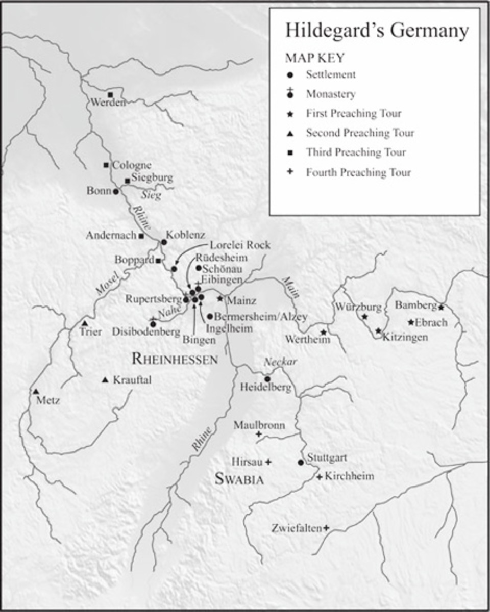 Map of St Hildegard's preaching tours