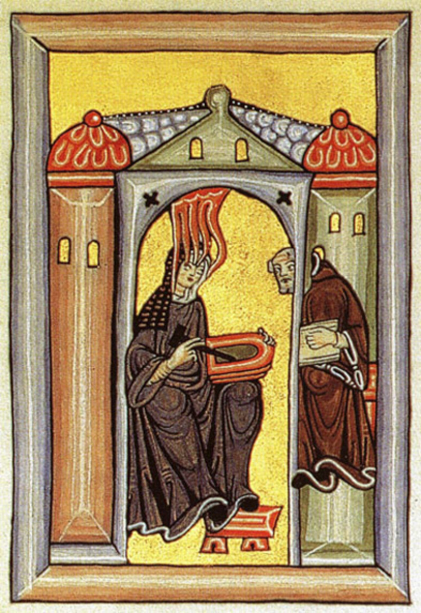 This frontispiece image from Scivias depicts Hildegard receiving divine revelations in the company of Volmar, her monk secretary. She holds a wax tablet and stylus.