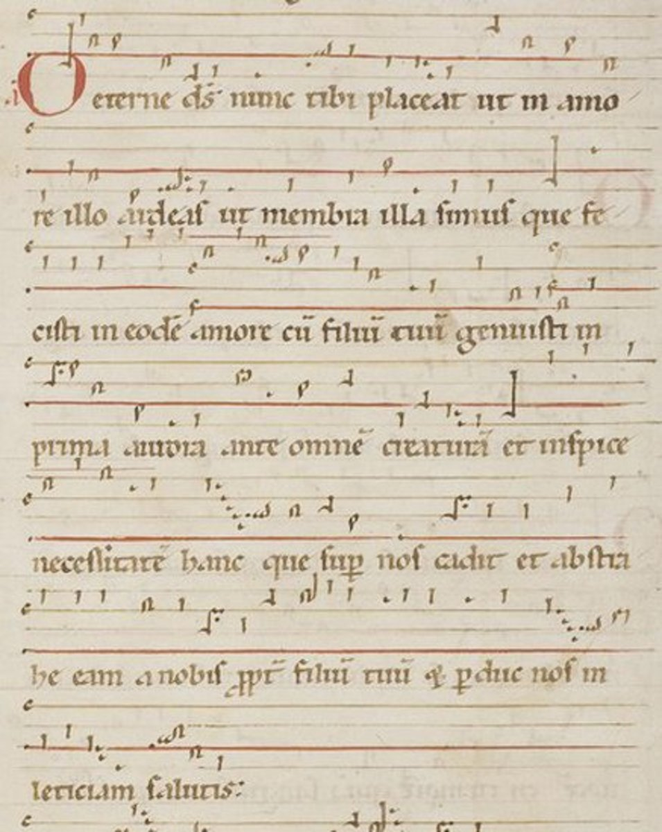 This illuminated manuscript shows one of Hildegard's antiphons, O Aeterne Deus.