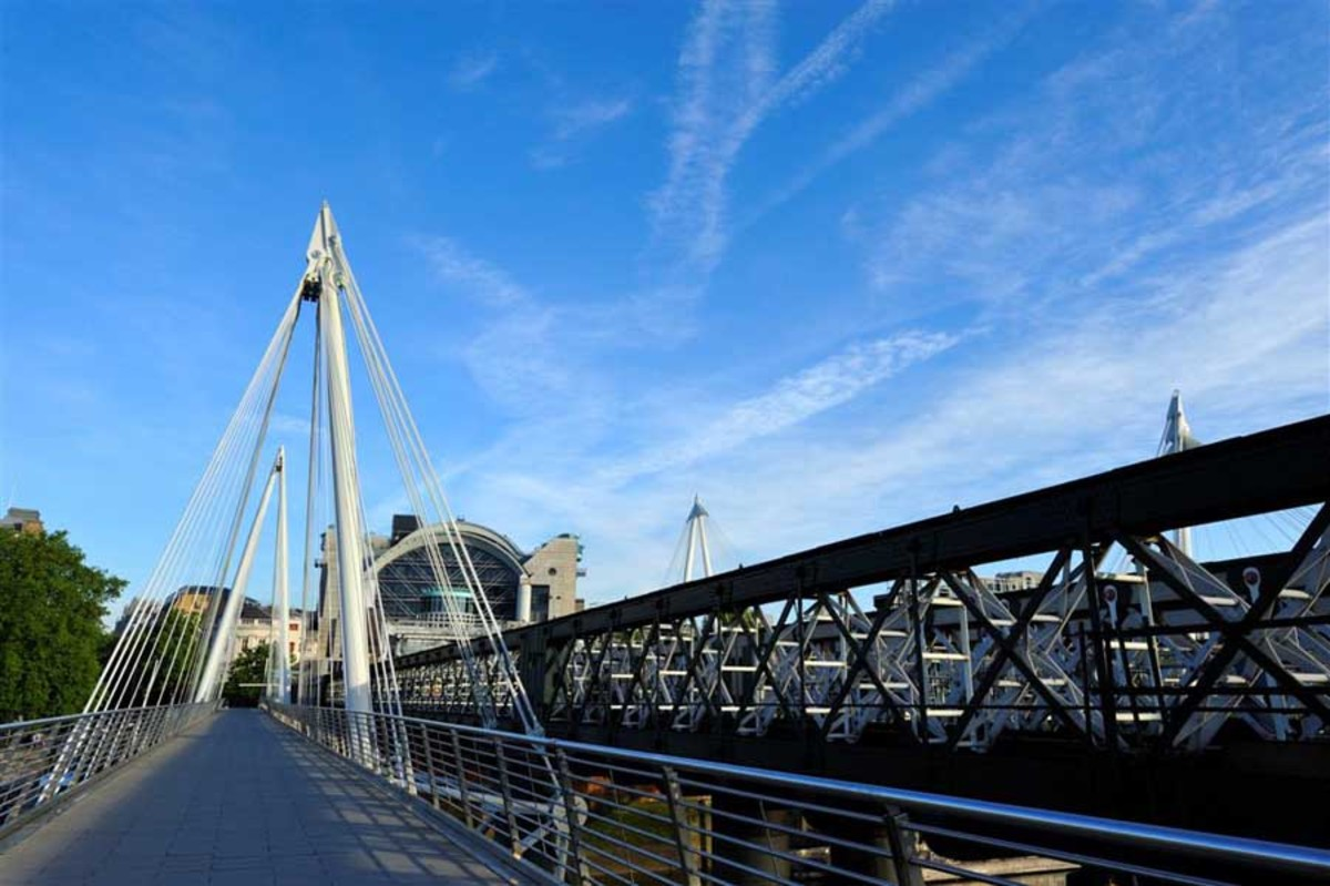 Hungerford is the railway bridge, the Golden Jubilee footbridges make it prettier