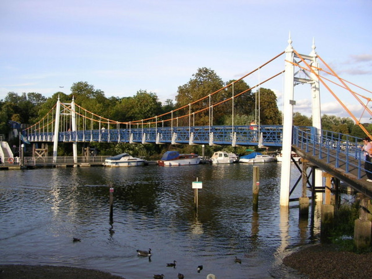 The pedestrian suspension bridge