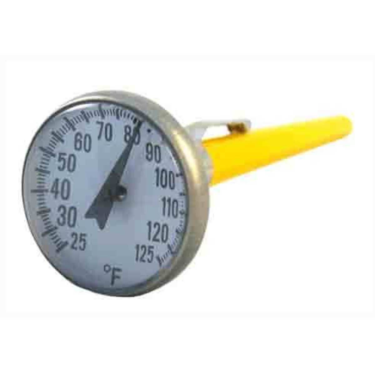 This is a concrete thermometer with a range of 25 to 125 degrees Fahrenheit. Since it contains the acceptable range of 30 to 120 degrees, this thermometer would be able to be used for this test.