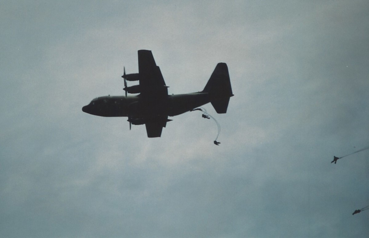 Paratroopers of the 82nd Airborne Division jumping out of a C-130, Andrews AFB, MD.