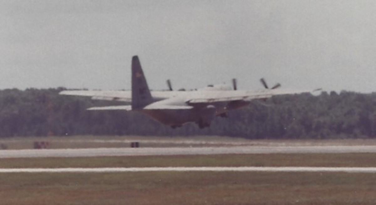 A C-130 taking off at Andrews AFB, MD.