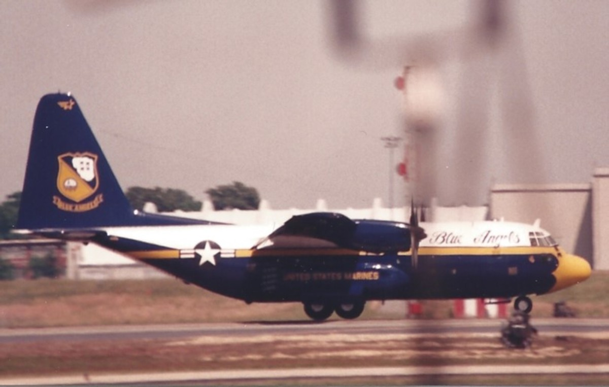 Fat Albert landing after a flight demonstration at Andrews AFB, MD.