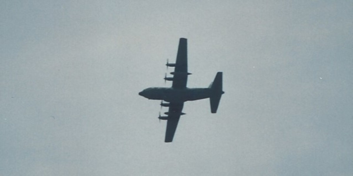 A C-130 over Andrews AFB, MD