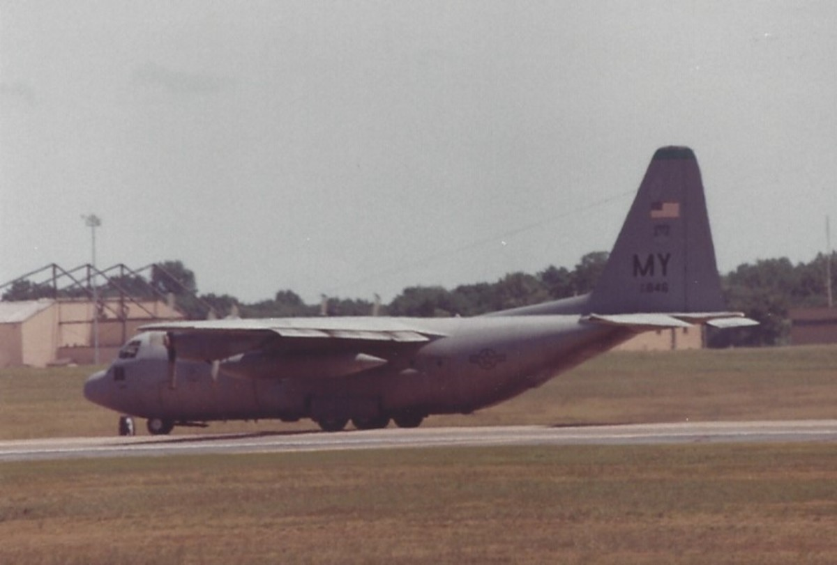 A C-130 landing at Andrews AFB, MD.