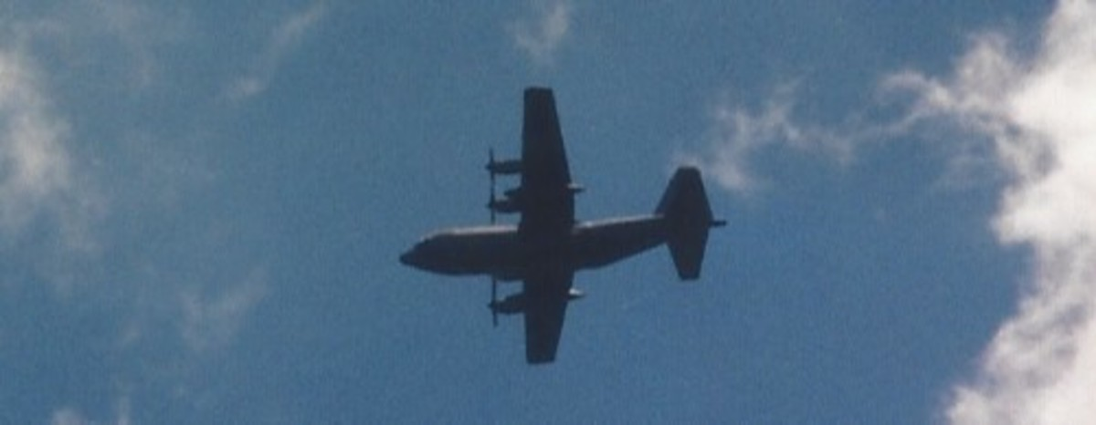 A C-130 over Andrews AFB.