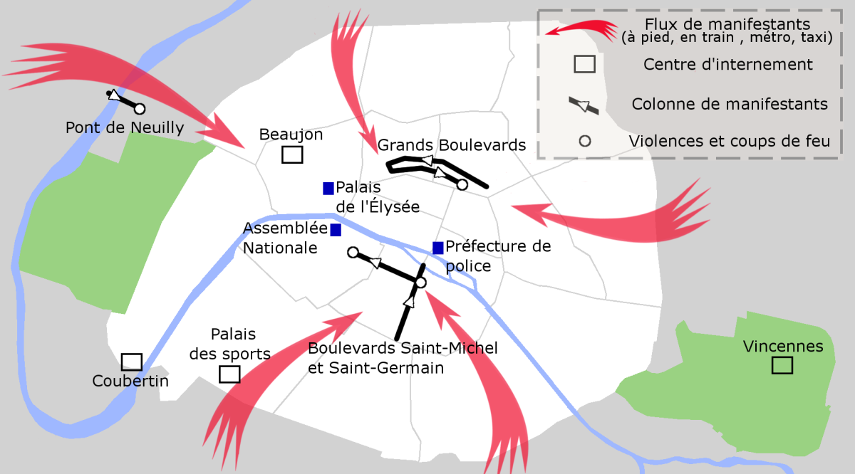 A map of the October 17, 1961 demonstrations in Paris, where up to several hundred protesters were killed.