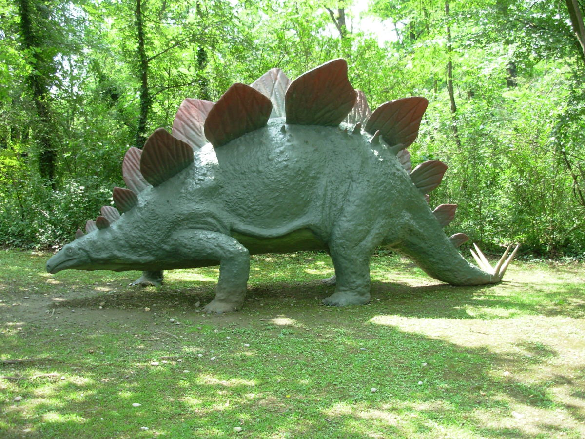 A Stegosaurus statue at Parco della Preistoria (Park of the Prehistoric)