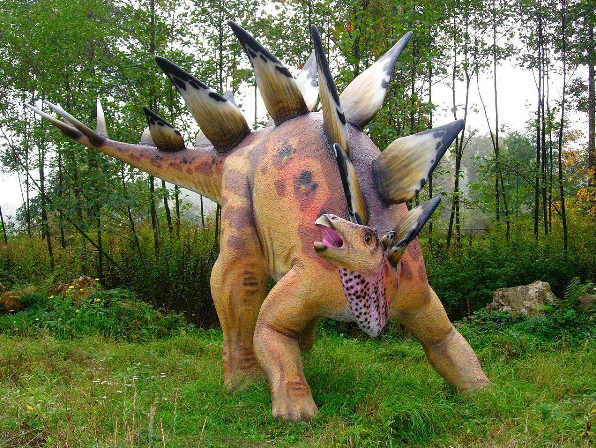 Model of stegosaurus in Bałtów Jurassic Park, Bałtów, Poland