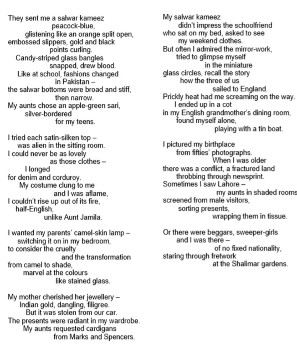 analysis-of-poem-presents-from-my-aunts-in-pakistan-by-moniza-alvi