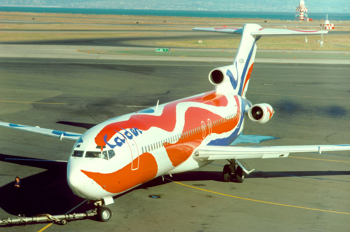 Boeing 727 Painted by Alexander Calder, N408BN at the San Francisco International Airport in 1976