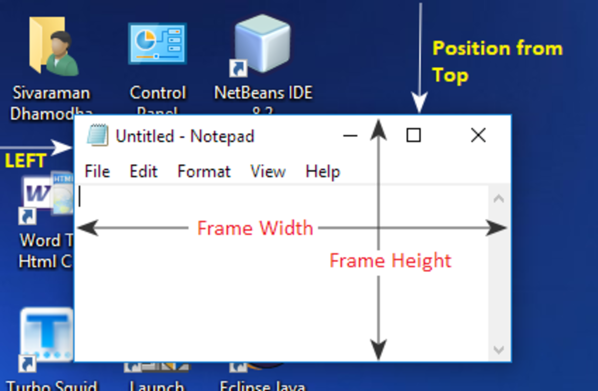 Size and Position of AWT Frame