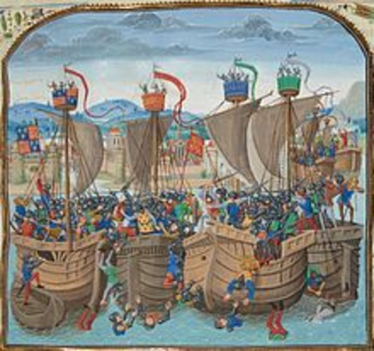 The Battle of Sluys as shown in Jean Froisssart's Chornicles