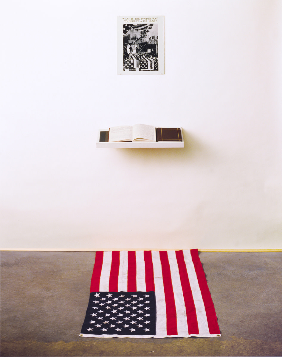 "A full photo of 'What is the Proper Way to Display the US Flag?"" by Dread Scott."