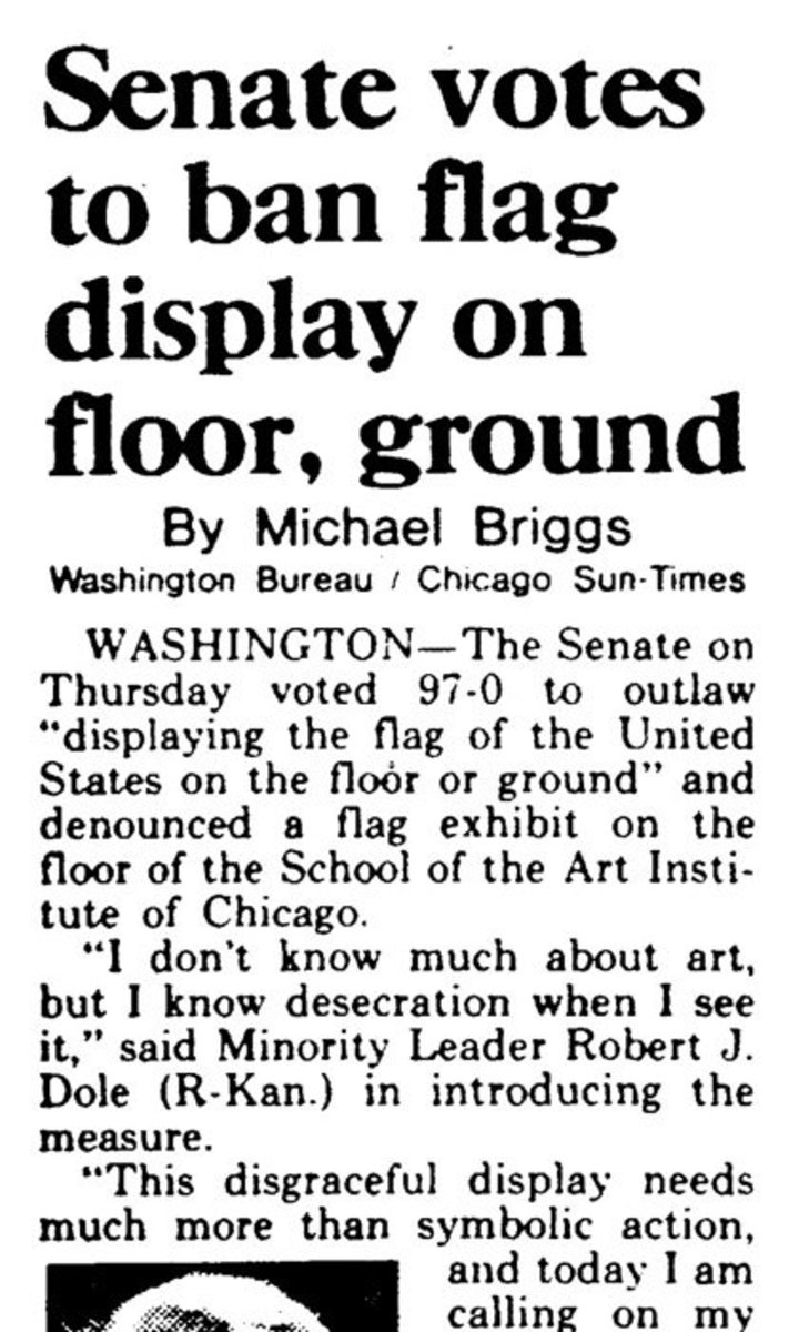 Another newspaper article about the court case surrounding Dread Scott's controversial work of art.