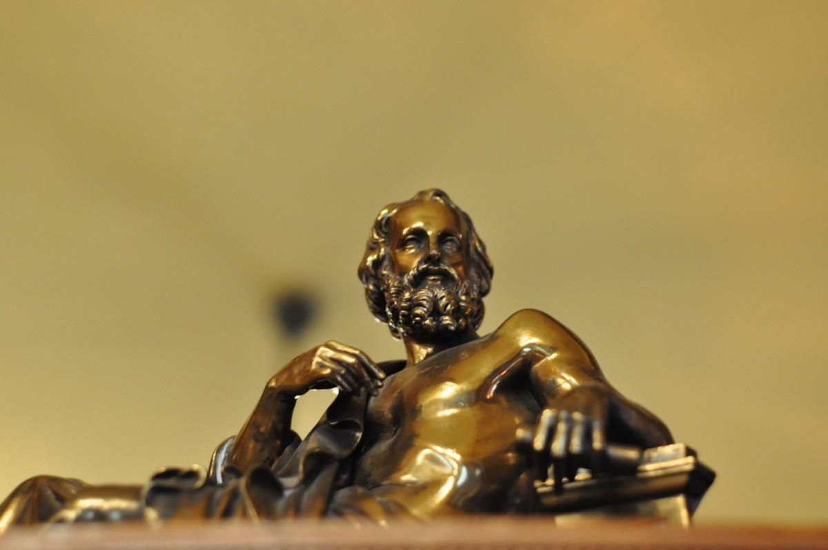 A bronze stature of Plato.