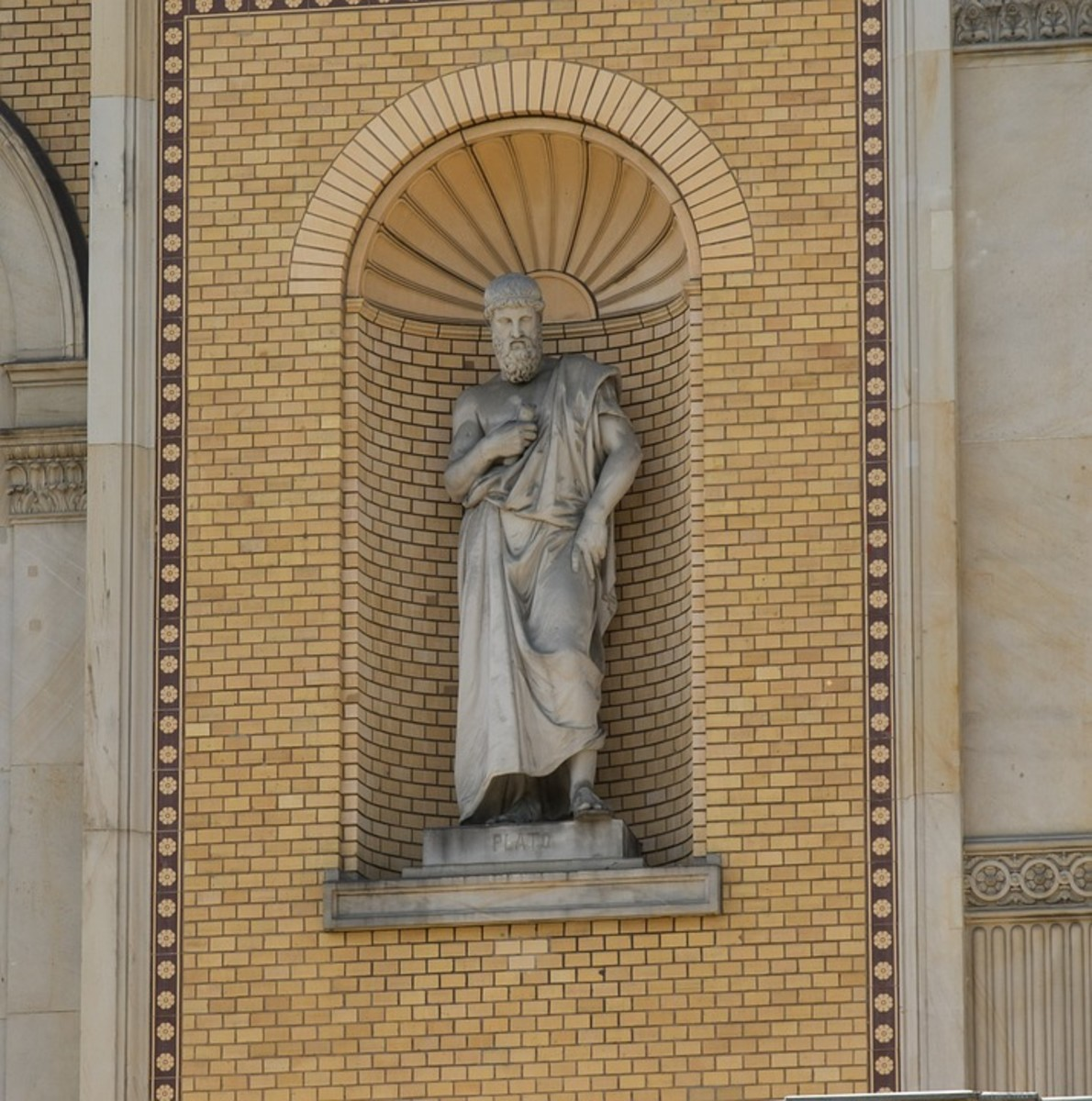 A sculpture of Plato.