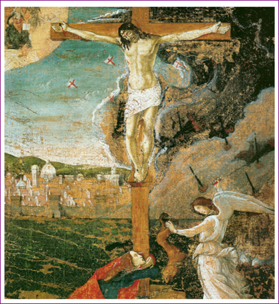 This painting shows an image that depicts the state of Florence and its fate in the background. It shows a flourishing town with a bright future. It shows Christ on the cross and beside him is a weeping angel. On the fore ground is Mary Magda