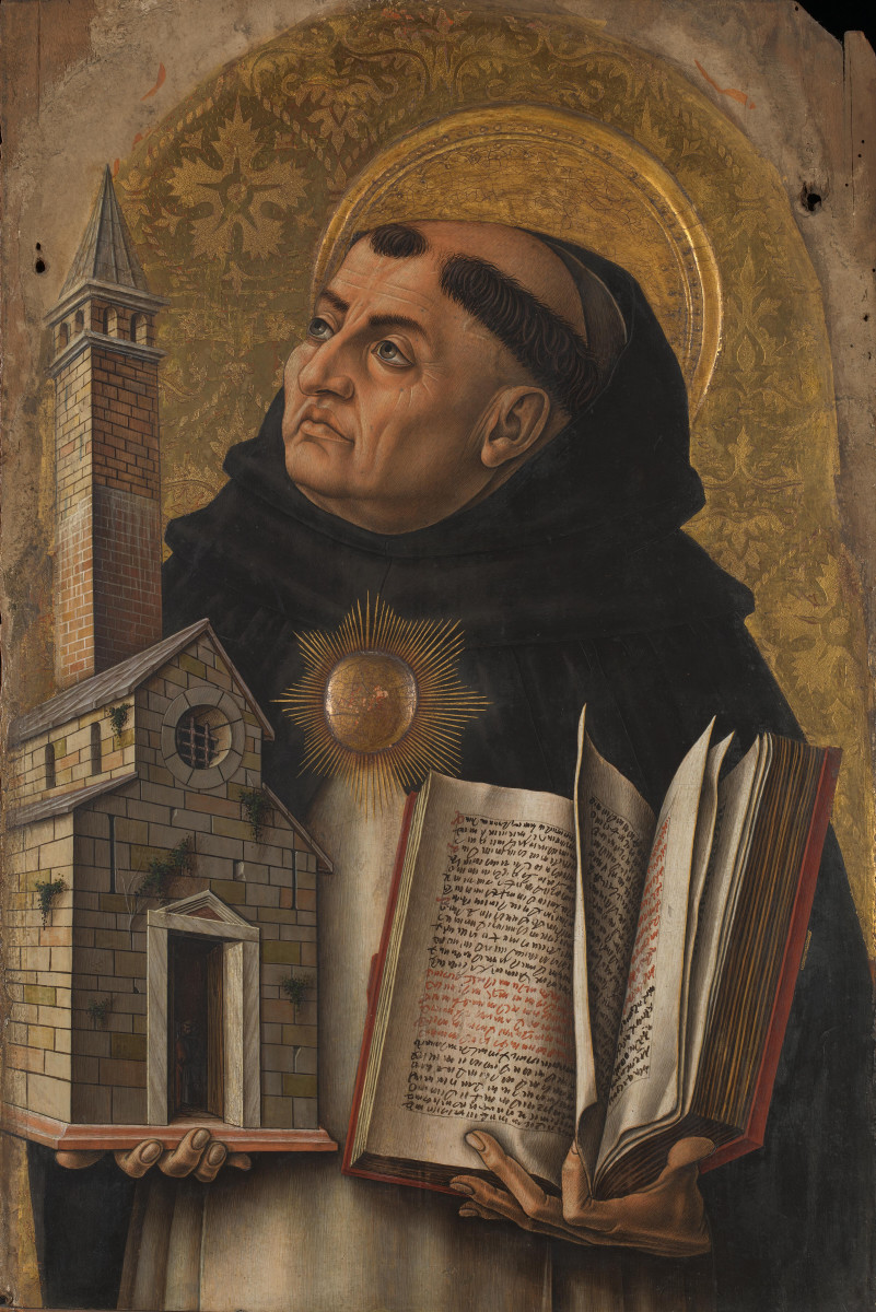 """St. Thomas Aquinas, the 13th-century Dominican friar and theologian who formalized the """"Five Ways"""" intended to demonstrate God's existence."""